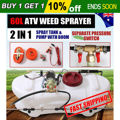 New 2 in 1 60L ATV Weed Sprayer Spray Tank & Pump With Boom 12V Garden Farm Spot