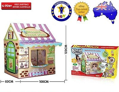 Kids Toddlers Cubby House Play Tent Indoor Outdoor Pretend Play Bread Shop