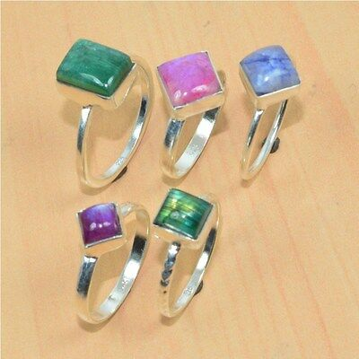 Wholesale 5Pc 925 Solid Sterling Silver Natural Rainbow Moon Stonering Lot