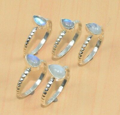 Wholesale 5Pc 925 Solid Sterling Silver Natural Rainbow Moon Stone Ring Lot