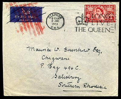 AIRMAIL Envelope CANCELLED 1953 QEII Clapham to Southern Rhodesia
