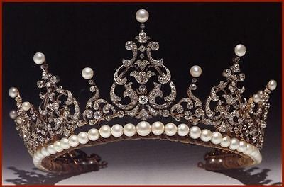 17.68 Ct Diamond Pearl 92.850 Silver Antique Look Wedding Engagement Party Tiara