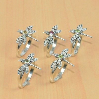 5Pc Wholesale 925 Solid Sterling Silver Natural Cut Peridot Butterfly Ring Lot