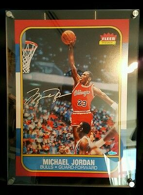"CUSTOM FRAMED MICHAEL JORDAN AUTO 1986 Fleer Rookie Card Blow Up 12.5""X17.5"" UDA"
