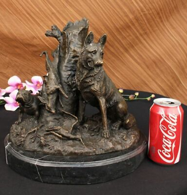Vtg Old Large-size Bronze sculpture of a standing Shepherd  and English Bulldog