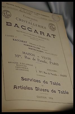1916 Baccarat Catalog Table Service & More Decanter Bottles Glass Full Set Book