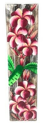 """Plumeria Flower Painting on Wood Planks 20"""" X 5"""" Rustic Wall Decor 