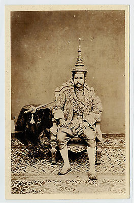 Old Siam Photo King Chulalongkorn Sit on Chair with Sword Albumen Vintage