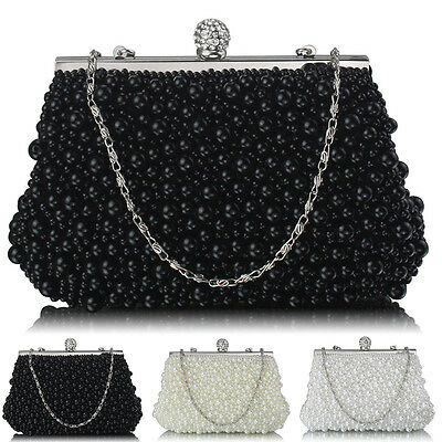 Women Clutch Evening Bag Vintage Beads Pearls Crystals Bridal Ladies Party Prom