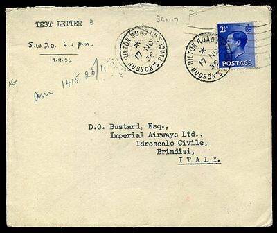 'TEST LETTER' SWDO 1936 KEVIII 2½d London to Brindisi Italy