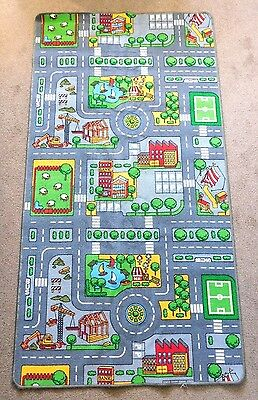 CHILDREN'S Road/Town/Cars Layout PLAYMAT/ RUG - Approximately 188cm x 99cm