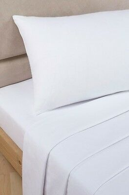 Polycotton Percale - Extra Deep Fitted Sheet - White - Single