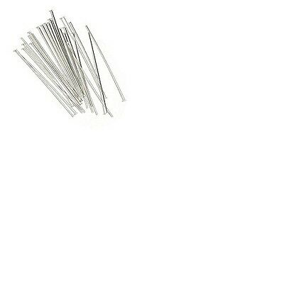50 x Solid 925 Sterling Silver Flat End Head Pins Findings 37mm Length - FH212