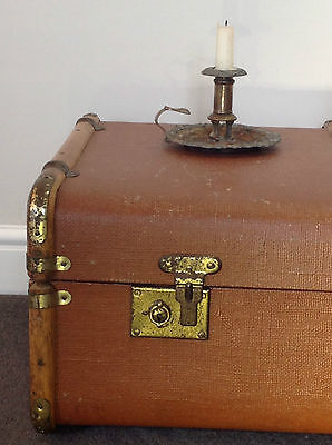 Large Vintage Steamer Trunk/Railway Travel Chest.Cleaned & Renovated.Wood,Brass