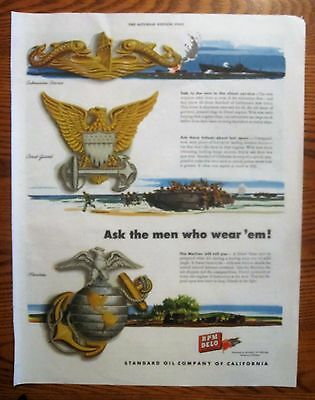Insignia of the Submarine, Coast Guard, Marine Corps,   WWII 1943,   RPM DELO Ad