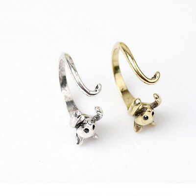 Gift Lovely Black Crystal Retro Burnished Mouse Rings Bronze Animal Wrap Ring