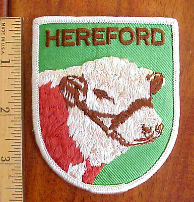 Hereford Cow Cattle Bull Farm Western Denim Iron-On Embroidered Patch