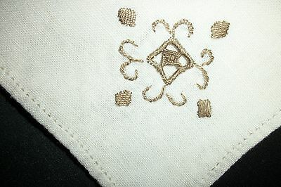 Set of 5~Vintage~Ivory~Cotton Dinner Napkins~Taupe Embroidered & Classic Edge