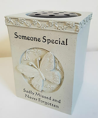 Graveside Memorial GRAVE VASE Flower Rose Bowl with Butterfly SOMEONE SPECIAL