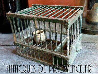 ANTIQUE VINTAGE WOOD & WIRE BIRD CAGE Hunting - French Shabby Deco #1