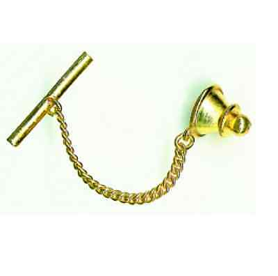 10 x Tie Tack Backs Gilt Tone Finish Spring loaded with chain and bar - FT121