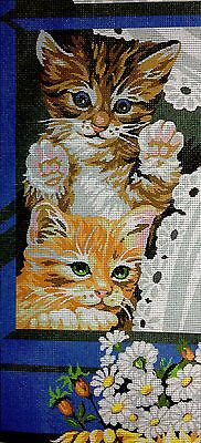 "Tapestry Gobelin Needlepoint Kit ""cats"" printed canvas  436"