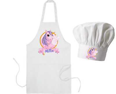 Personalised Unicorn Apron Adults Child sizes Chef Hat GIFT for Baking Party