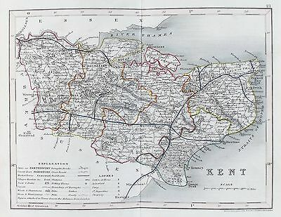 OLD ANTIQUE MAP KENT c1840's by J ARCHER ORIGINAL OUTLINE HAND COLOUR