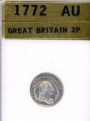 1772 Great Britain 2 Pence Silver Maundy  (KK4)