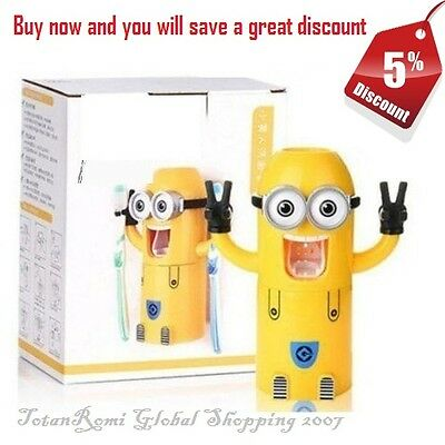 Toothbrush Holder Toothpaste Dispenser Minions Cute Wall Mounted 1 eye or 2 eyes
