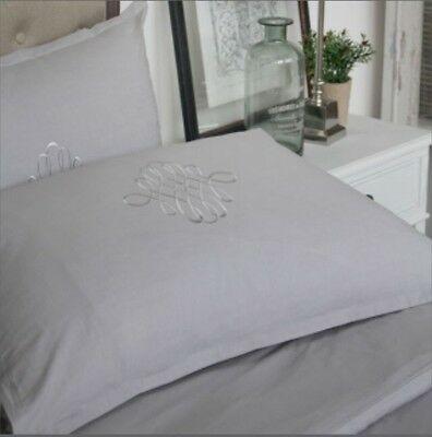 """Cloud Grey"" Single Duvet Cover And Pillow Set, French Linen"
