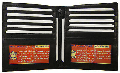 MENS BIFOLD 2 ID WESTERN LARGE WALLET GENUINE LEATHER HIPSTER EURO Bk