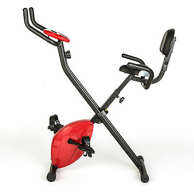 Comfort Plus Folding Exercise Bike with Back Rest and Digital Display - RED