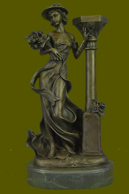 """Bronze Statue of Female Bust Flower Hat Marble Base Lady Woman 16""""Signed Kassin"""