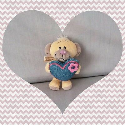Peluche Diddl Pimboli ours Coeur jeans couture fleur rose TBE 9cm