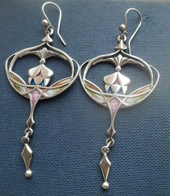 LARGE Silver & Enamel Scottish Art Nouveau Earrings - Pat Cheney / Ortak  c.1990