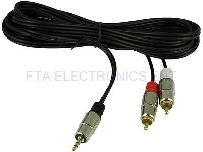 3.5mm Male Plug Adapter to 2 RCA Male Stereo Audio Wire AV Cable Adapter 10FT 3M
