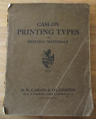 "Letterpress Typography ""rare"" Caslon Printing Types And Printing Materials 1932"