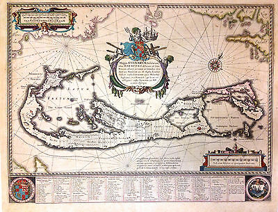 1638 Willem Blaeu Map of Bermuda - ORIGINAL