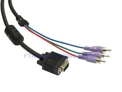 PC VGA SVGA 15Pin HD15 to RGB 3 RCA Component TV-HDTV Video Card Cable 5FT 1.5M