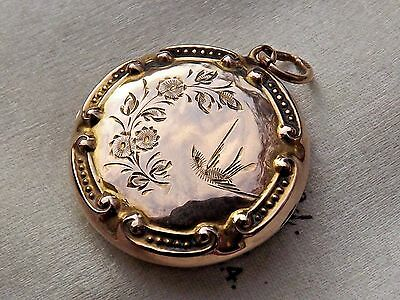 A Fine Antique Circa 1890 Victorian 9ct Rose Gold Swallow Design Locket