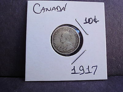 Canada 10 Cents 1917  Silver Coin