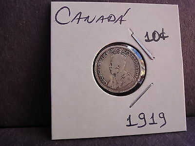 Canada 10 Cents 1919  Silver Coin