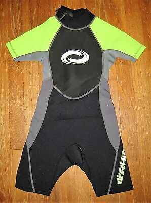 ORageous Black,Green &Gray Youth Size 6-8 Short Sleeved Wet Suit Shorty Spring