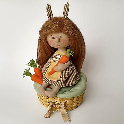 Textile bunny girl with carrots, sitting on a cabbage, artist doll, 6in.