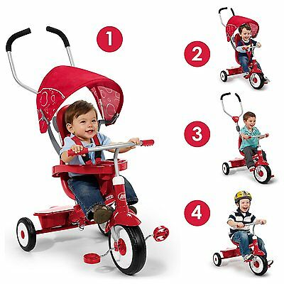4-in-1 Tricycle Stroller Kids Baby Toddler Trike Ride On Bike Toy Child Converts