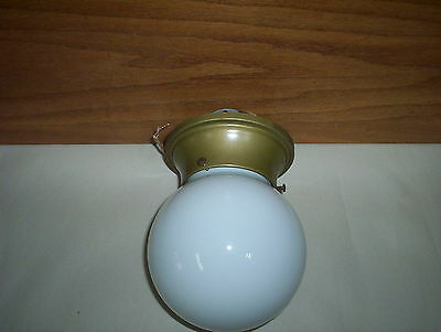"""Vintage (5 3/4"""" Tall) White Glass Globe Shade Electric Light Fixture Set Works!"""