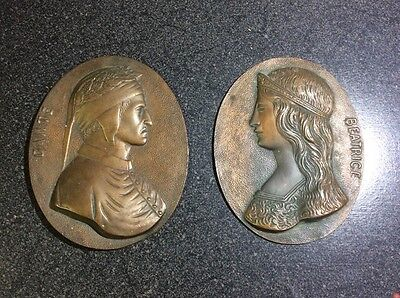 Antique 19th Century Dante and Beatrice Bronze Wall Plaques