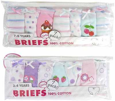 7 Pairs Pack Girls Childs 100% Cotton Briefs Pants Knickers Underwear 2-8 Years.