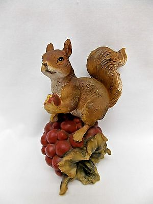 Red Squirrel on top of Fruit Figurine Resin Material 5 1/2 In tall Nice Detail